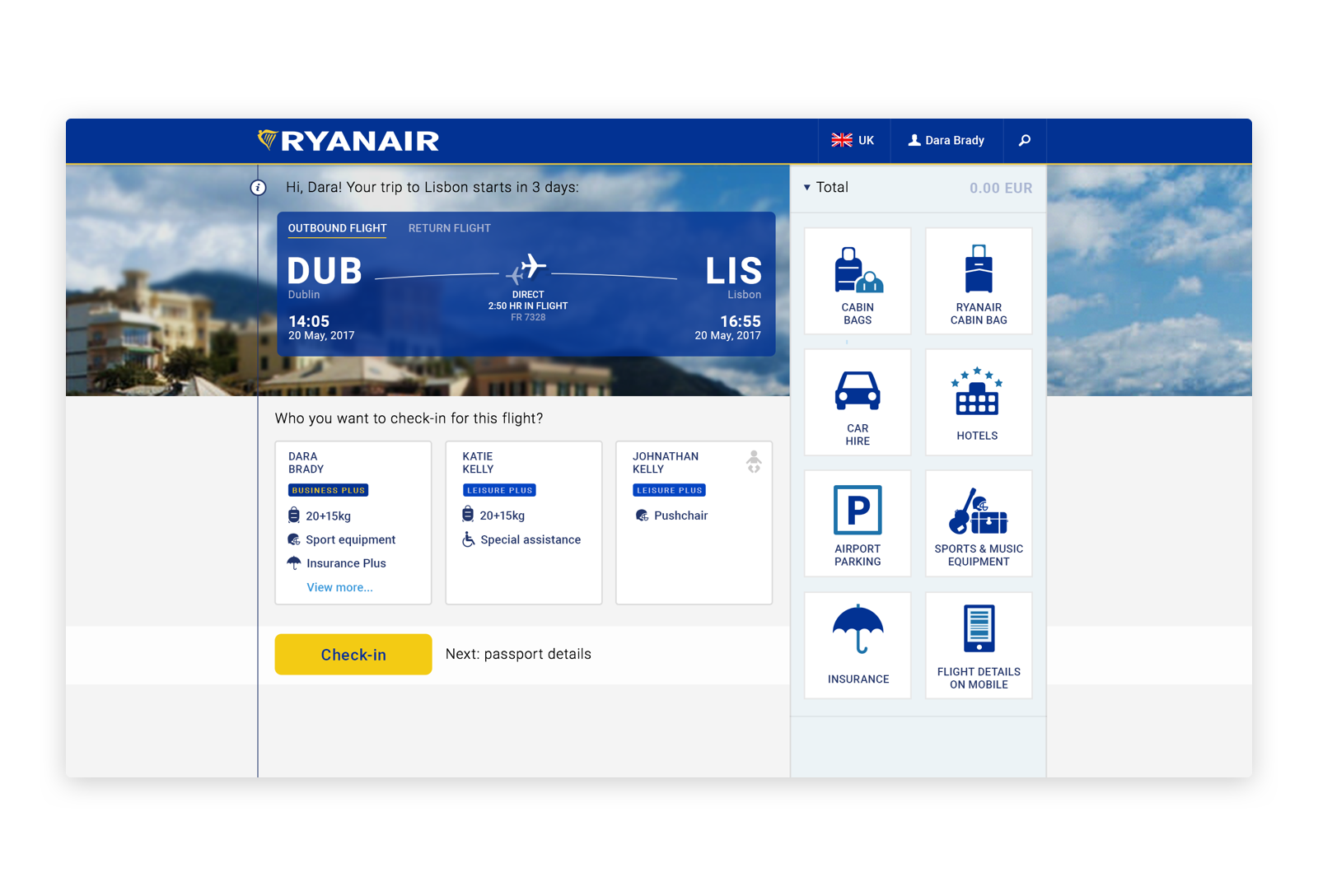 Ryanair check-in overview UI